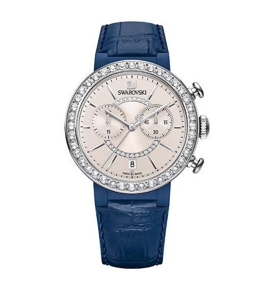 スワロフスキー シトラ スプヒアー クロノ ウォッチブルーグレイ 腕時計 5210208 Swarovski Citra Sphere Chrono Watch Blue Gray □