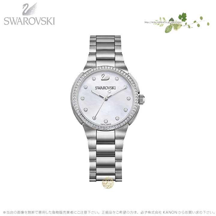 スワロフスキー シティ ミニ ウォッチ メタル ブレスレット マザーオブパール シルバー 時計 5221179 Swarovski □