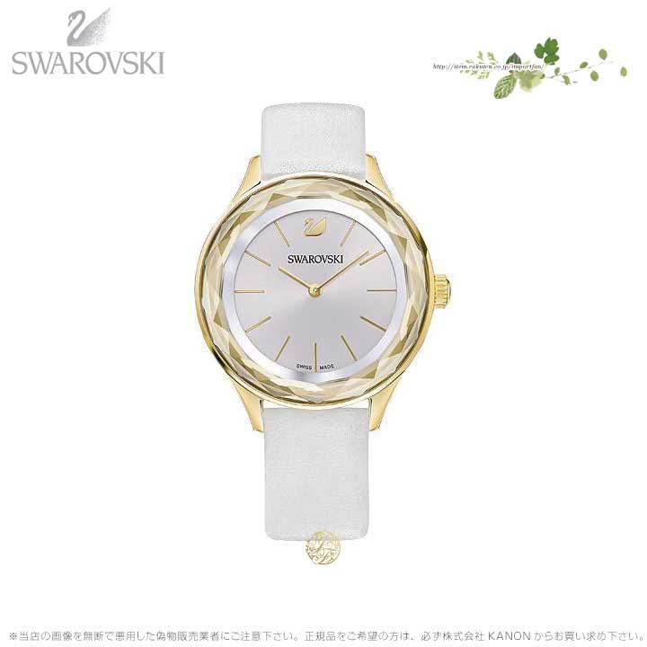 スワロフスキー オクティ ノバ ウォッチ レザーストラップ ホワイト ゴールド 時計 5295337 Swarovski □