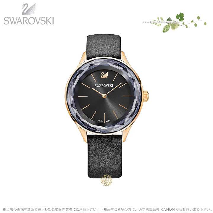 スワロフスキー オクティ ノバ ウォッチ レザー ストラップ ブラック ローズゴールド 時計 5295358 Swarovski □