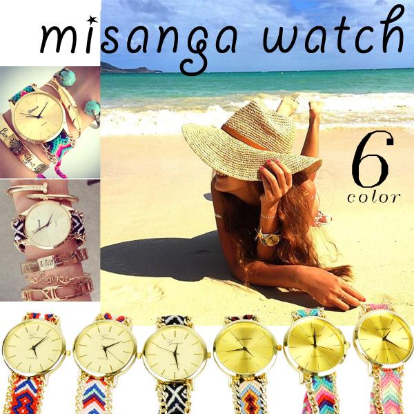 チャンルーブレスレットと重ねづけでさらに可愛い 安い ミサンガウォッチ 腕時計 美品 全6種類 即納 チャンルーブレスと合わせて付けると更にカワイイ