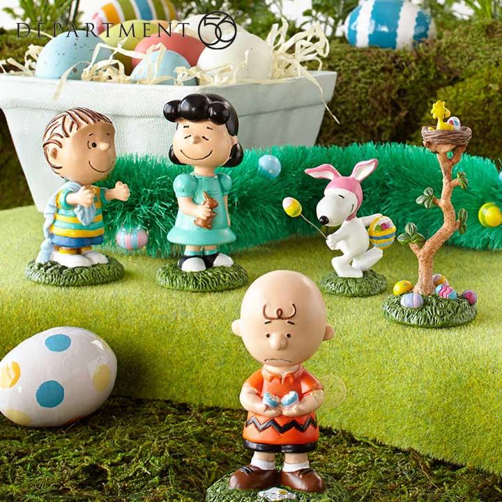 Department56 エッグハント スヌーピー チャーリーブラウン ライナス ルーシー うさぎ イースター Snoopy Egg Hunt 4038922 □