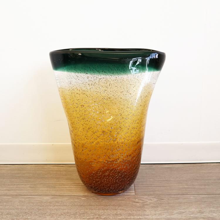 花瓶 ガラス フラワーベース 花器 ヨーロピアン グリーン アンバー モダン