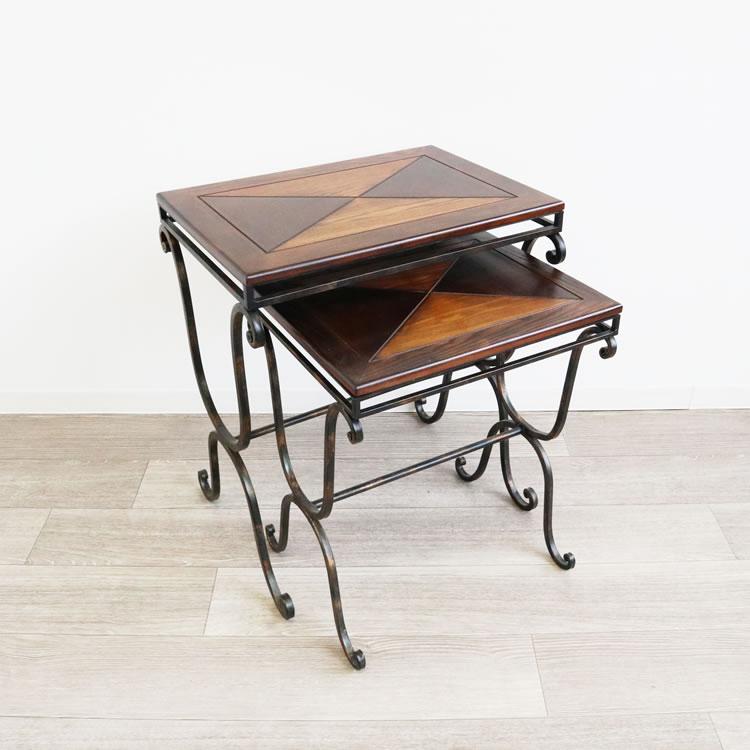 新生活 サイドテーブル アンティーク調 ネストテーブル ローテーブル ナイトテーブル アイアン ウッド おしゃれ 2個set モダン カフェ風 引っ越し 新居