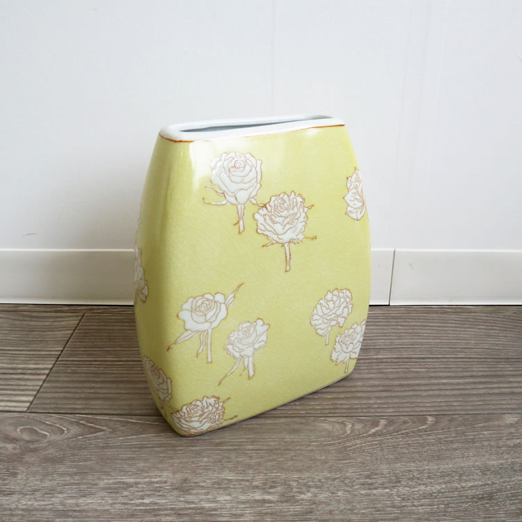 花瓶 フラワーベース 陶器 激安通販販売 ローズ バラ イエロー 黄色 かわいい プレゼント向き おしゃれ 実用的 置物 リビング 早割クーポン ギフト ラッピング 玄関