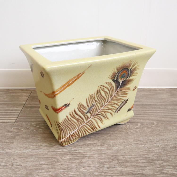 花瓶 フラワーベース 陶器 鉢カバー ブラウン 黄色 羽 ラッピング 実用的 ギフト プレゼント