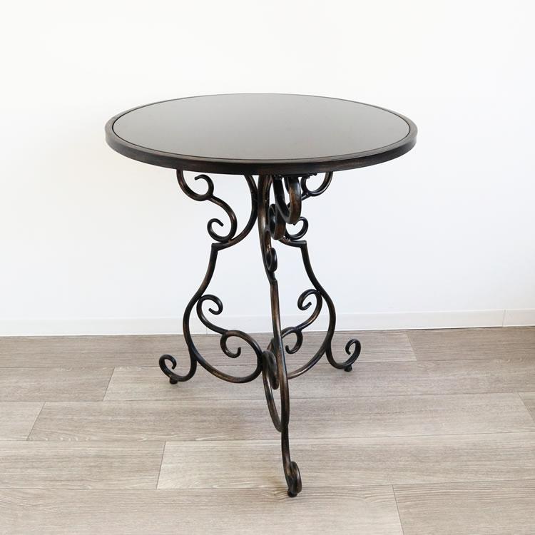 ガーデンテーブル コーヒーテーブル アイアンテーブル アンティーク調 アイアン おしゃれ モダン カフェ風 マーブルトップ 丸形 おすすめ 人気