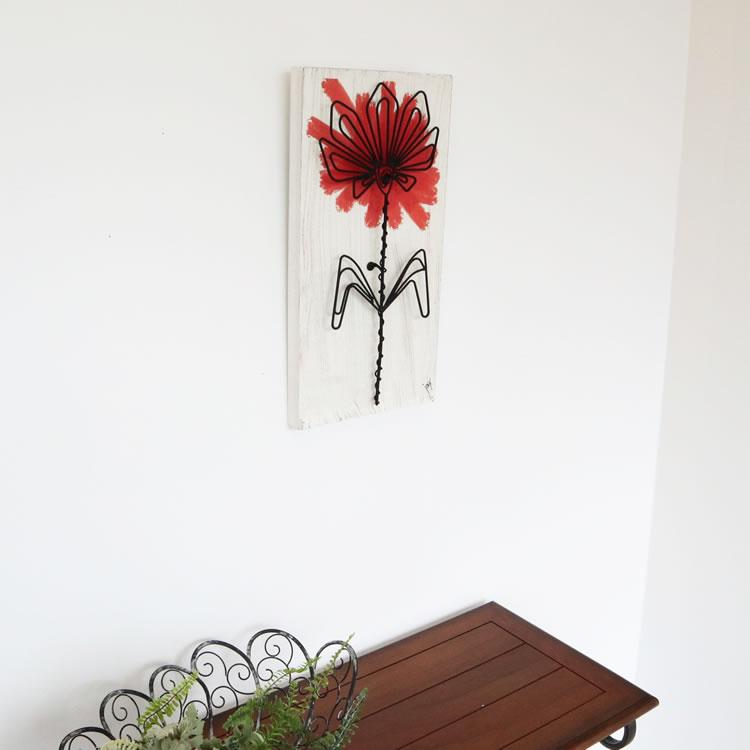 壁飾り インテリア 壁掛け インテリア ウォールデコ レッドフラワー 壁飾り 木製 アイアン 壁飾り おしゃれ 壁掛け アイアン