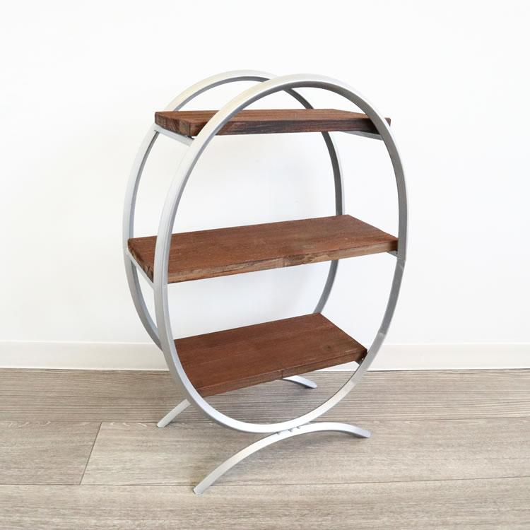 シェルフ アイアン 3段 ディスプレイシェルフ 棚 おしゃれ ラック ディスプレイラック 棚 アンティーク調 ウッド&アイアン 小型鉢
