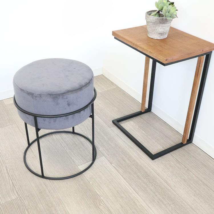 スツール ベロア調 おしゃれ 北欧 丸形 シンプル かわいい イス リビング 玄関 グレー 一人用 ロビー 低め 淡い 一人掛け インテリア 家具 雑貨 椅子 コンパクト 引っ越し