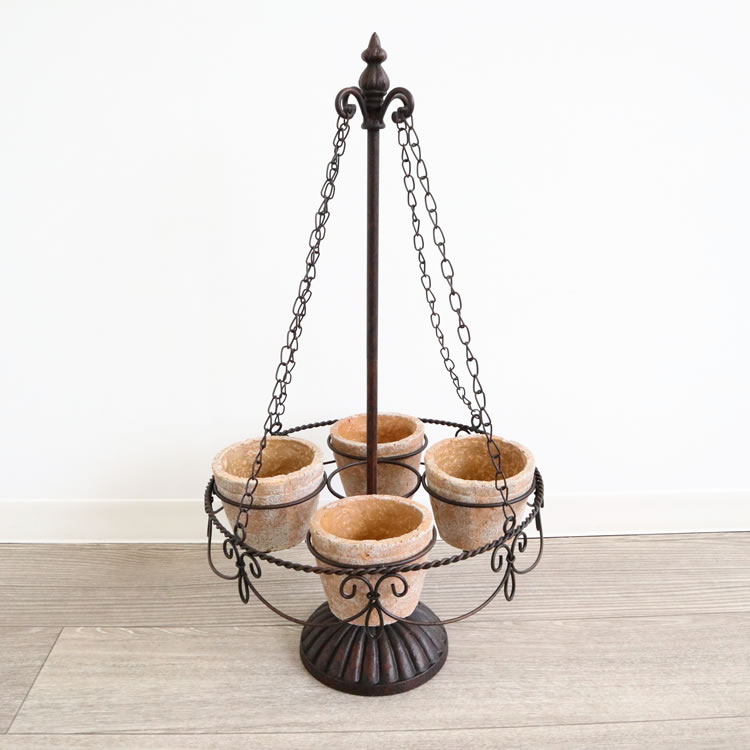 かわいい アンティーク調 リビング 玄関 アイアン テラコッタ フラワーベース 花瓶 陶器 インテリア 小物 雑貨 アレンジ 造花 個性的 輸入 雑貨
