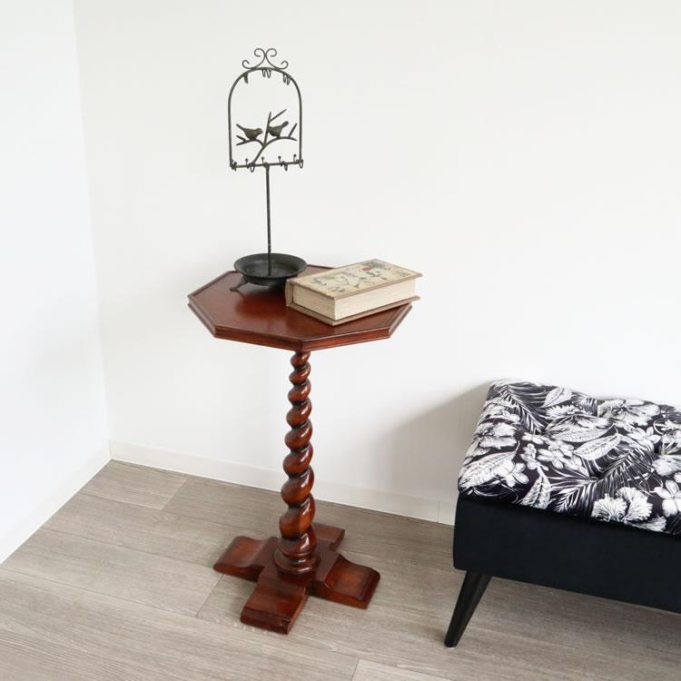サイドテーブル インテリア アンティーク調 高級 ナイトテーブル ウッド おしゃれ モダン カフェ風 ランプテーブル リビング 玄関 小さめ 木製 シンプル