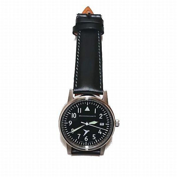 送料無料 Messerschmitt/メッサーシュミット 腕時計 ドイツ時計 ブライドルレザーストラップ「109 BLACK」Bridle Leather Strap MADE IN GERMANY