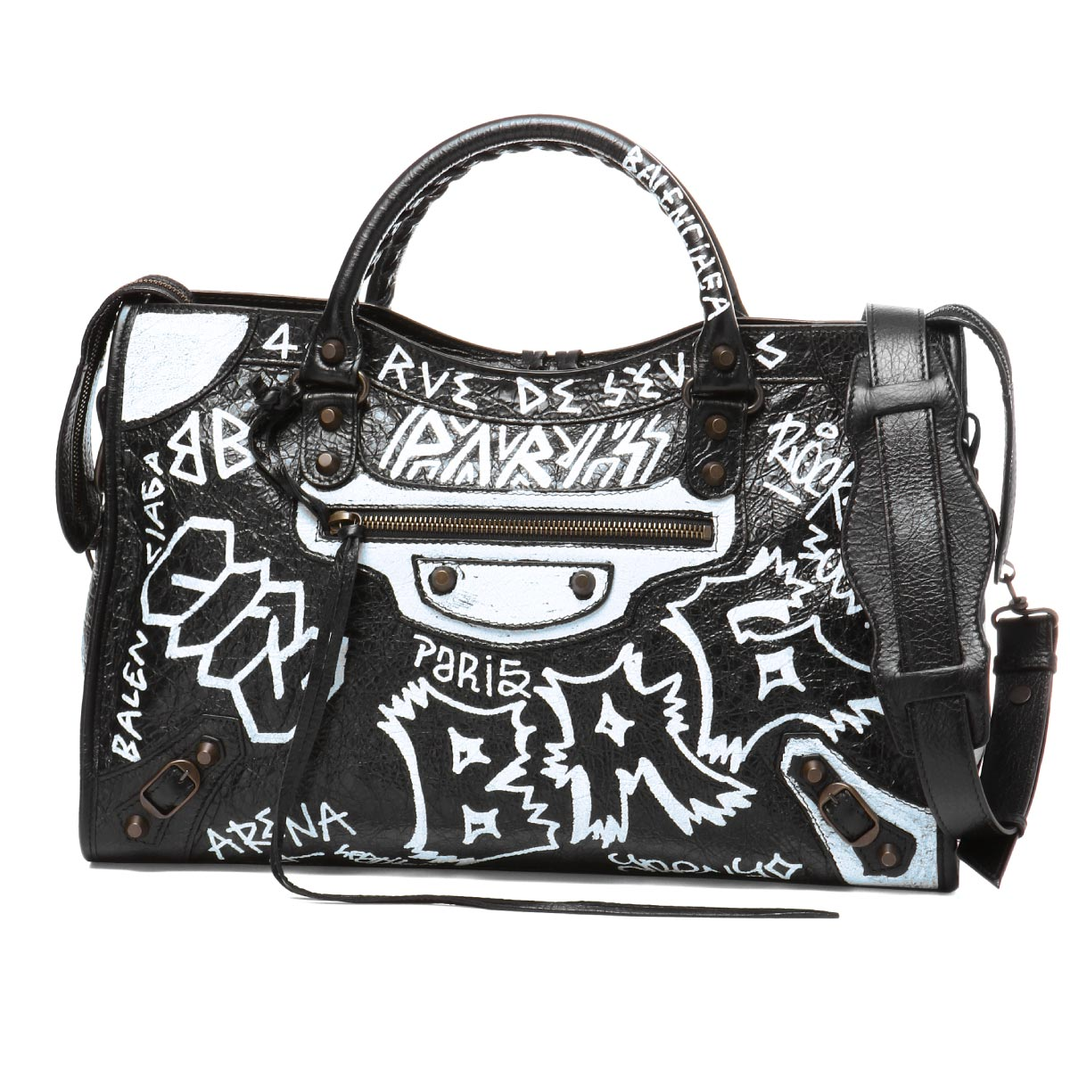 cc5692839ef 505550 バレンシアガ BALENCIAGA bag lady 0FE1T 1090 shoulders handbag medium  GRAFFITI CLASSIC CITY graffiti classical music city BLACK WHITE black  belonging ...