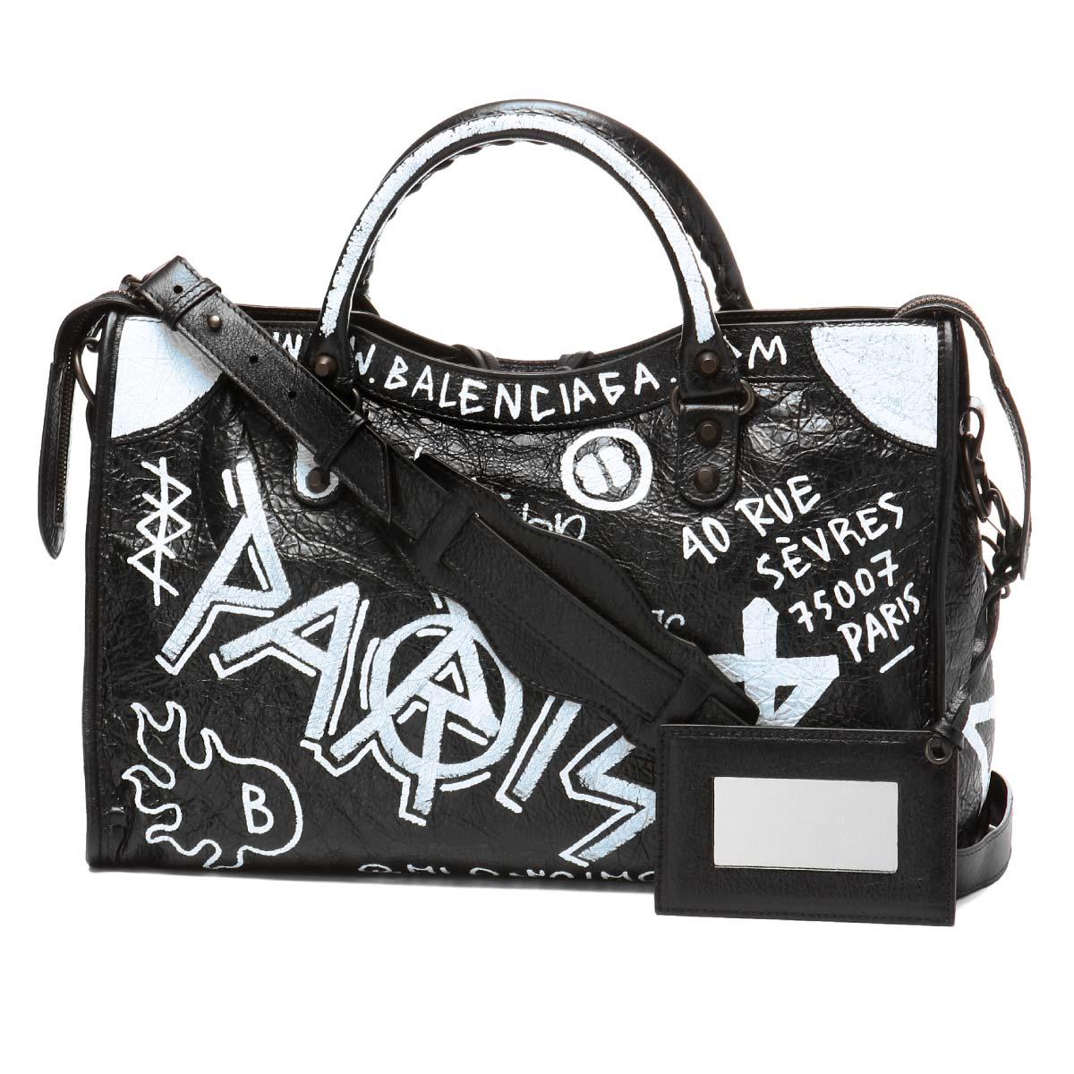 4d9af713a49b 505550 バレンシアガ BALENCIAGA bag lady 0FE1T 1090 shoulders handbag medium  GRAFFITI CLASSIC CITY graffiti classical music city BLACK WHITE black  belonging ...