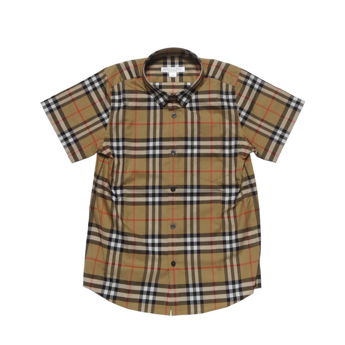バーバリー BURBERRY シャツ キッズ ボーイズ 8002633 半袖シャツ ANTIQUE YELLOW ベージュ 8A-14A