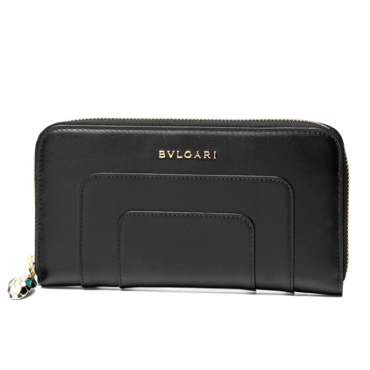 ブルガリ BVLGARI 財布 レディース 36477 ラウンドファスナー長財布 ラージ SERPENTI FOREVER セルペンティ フォーエバー BLACK/LIGHT GOLD ブラック