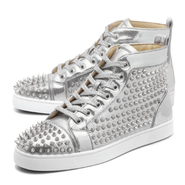 d161e625324 1180210 クリスチャンルブタン Christian Louboutin shoes men SV71 sneakers higher  frequency elimination LOUIS FLAT SPIKES Lewis flat spikes SILVER SILVER ...