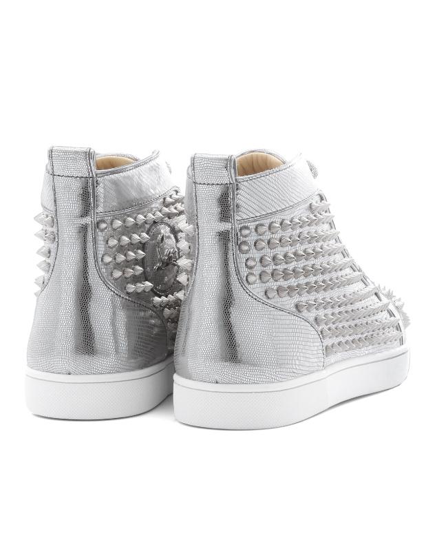 1180210 クリスチャンルブタン Christian Louboutin shoes men SV71 sneakers higher  frequency elimination LOUIS FLAT SPIKES Lewis flat spikes SILVER SILVER ...