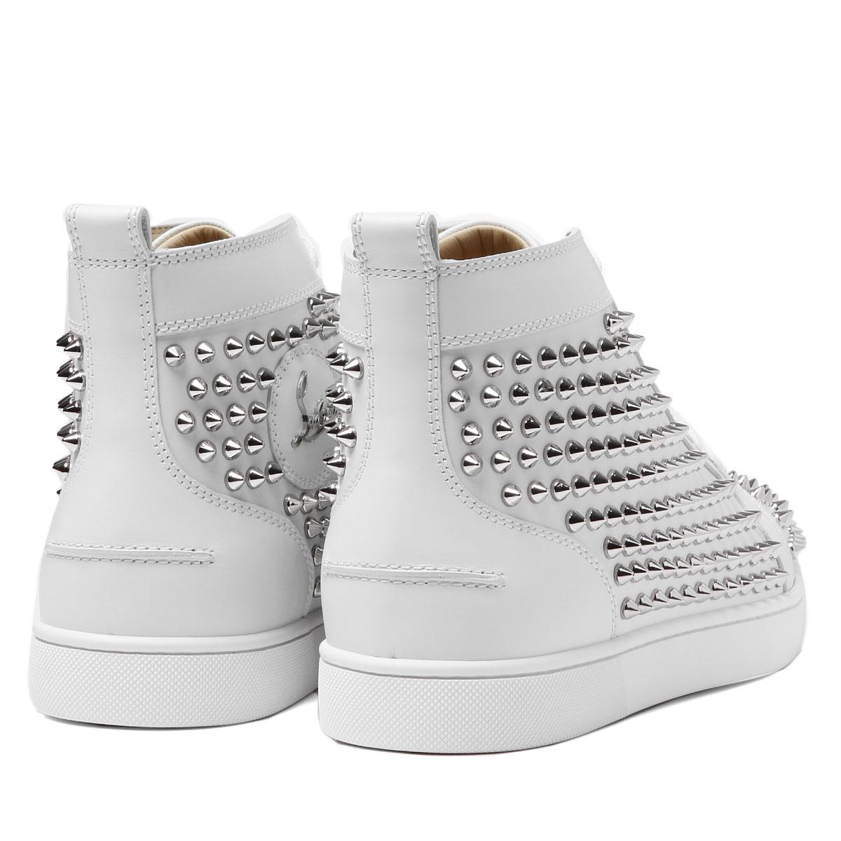 1101083 クリスチャンルブタン Christian Louboutin shoes men W083 sneakers higher  frequency elimination LOUIS FLAT SPIKES Lewis flat spikes LATTE SILVER white