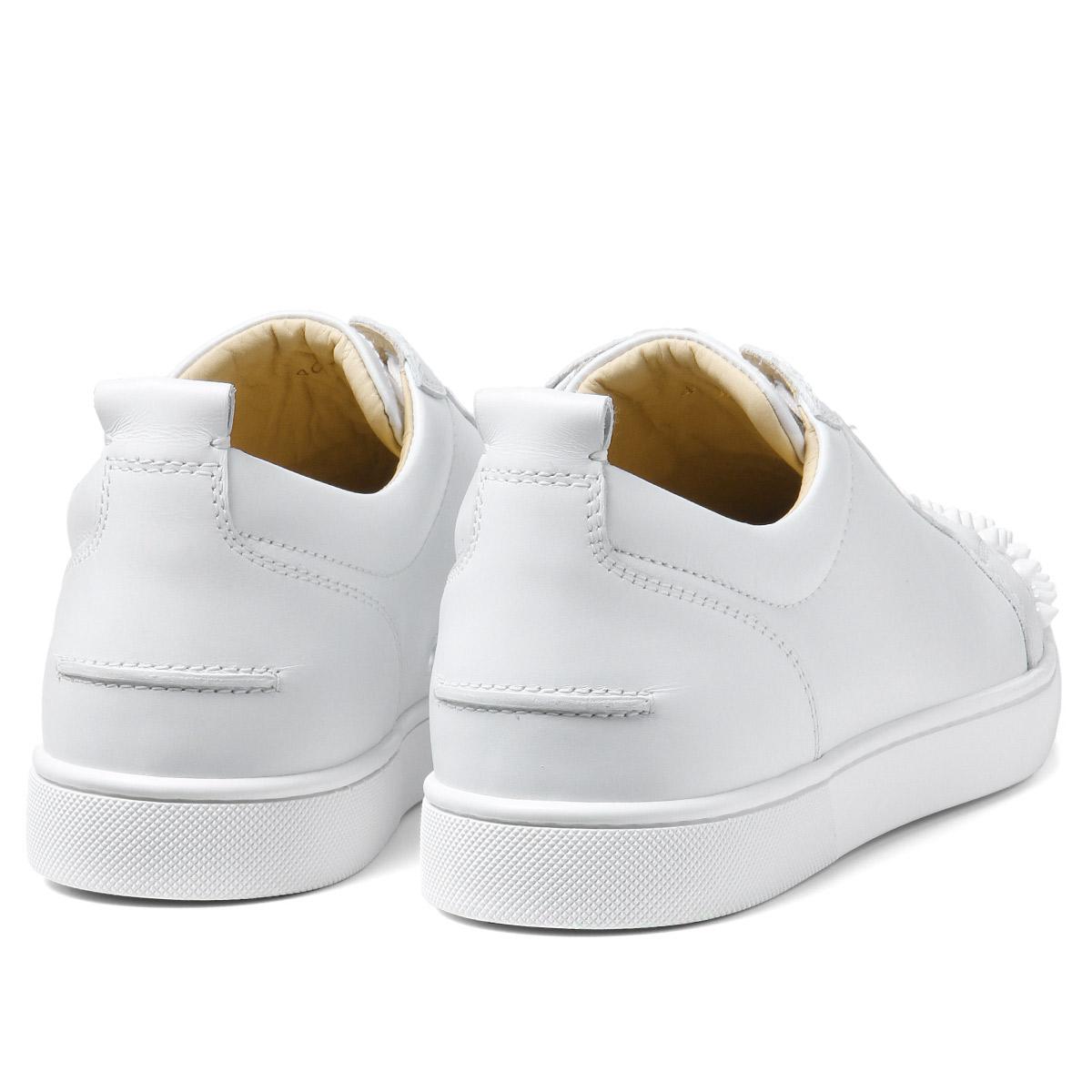 86de2df2c11 1130573 クリスチャンルブタン Christian Louboutin shoes men 3047 sneakers LOUIS JUNIOR  SPIKES FLAT Lewis Junius pike staple fiber rat WHITE/WHITE white
