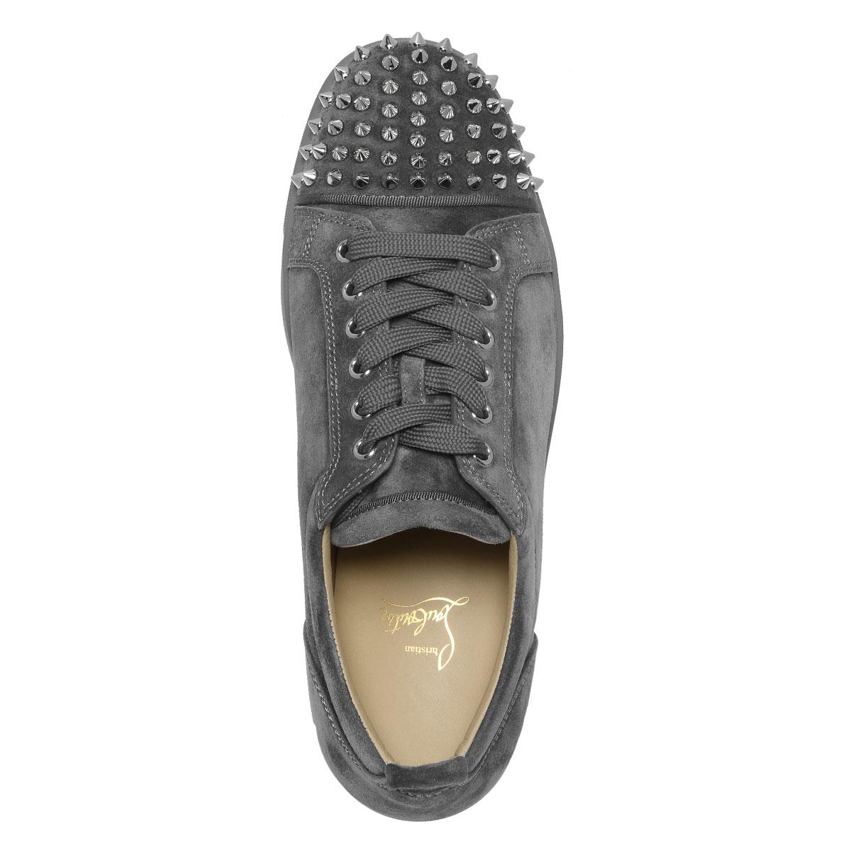 cae8b139397 1180051 クリスチャンルブタン Christian Louboutin shoes men I208 sneakers LOUIS JUNIOR  SPIKES FLAT Lewis Junius pike staple fiber rat SHADOW/SV gray