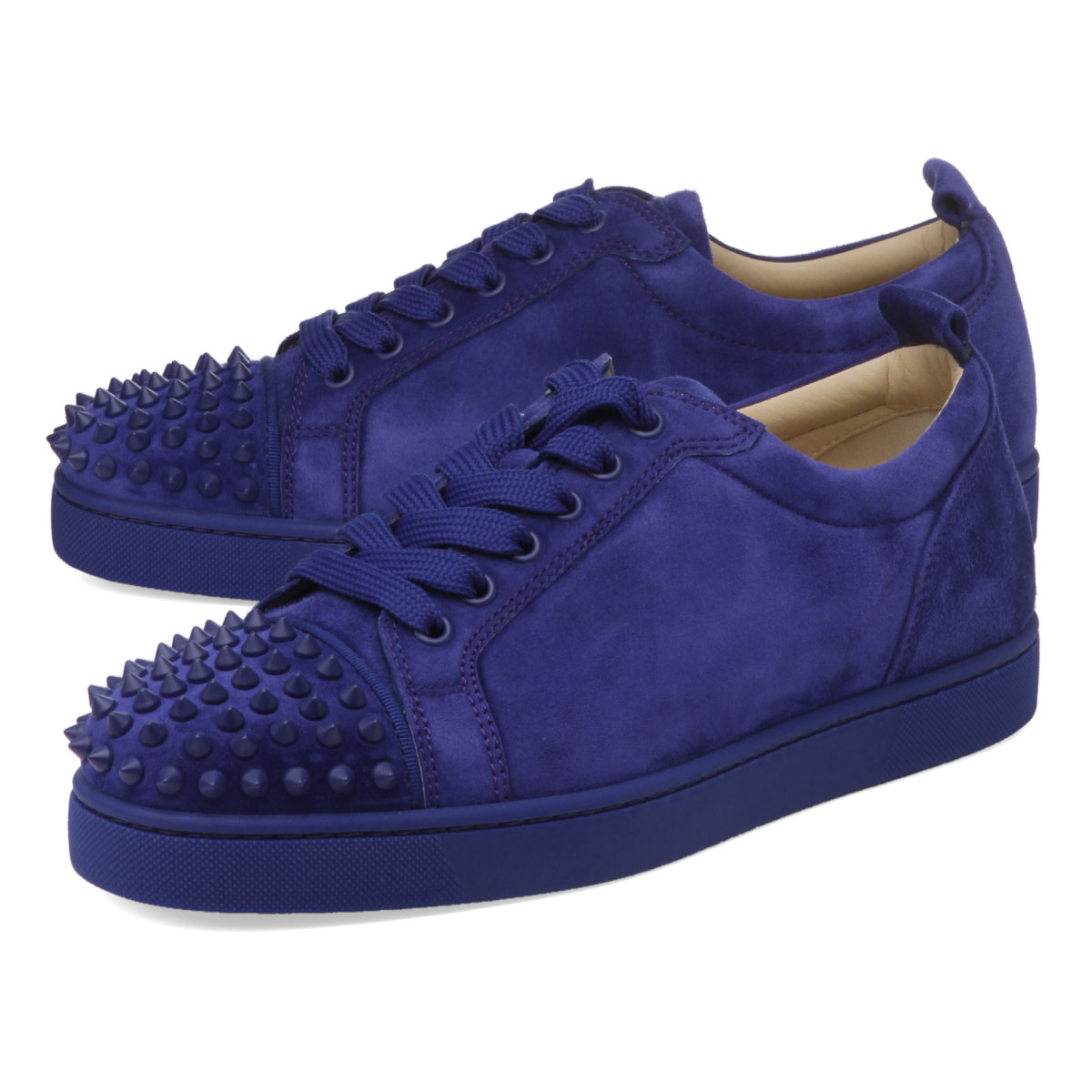 super popular 702fe 70111 1180051 クリスチャンルブタン Christian Louboutin shoes men V083 sneakers LOUIS JUNIOR  SPIKES FLAT Lewis Junius pike staple fiber rat NOMADE/NOMADE MAT blue