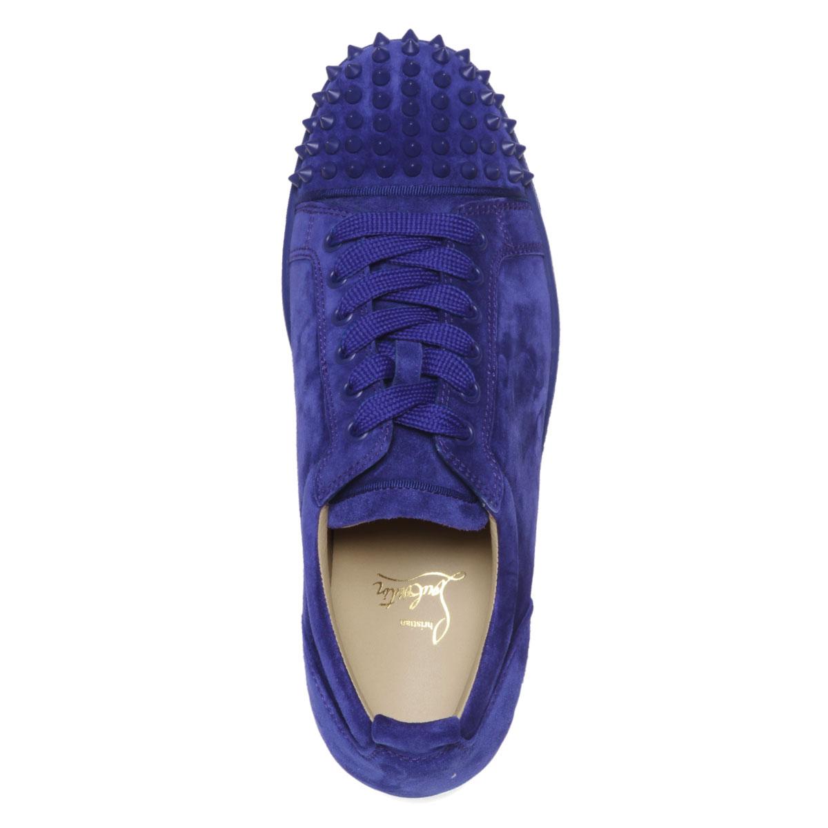 super popular 517b1 96874 1180051 クリスチャンルブタン Christian Louboutin shoes men V083 sneakers LOUIS JUNIOR  SPIKES FLAT Lewis Junius pike staple fiber rat NOMADE/NOMADE MAT blue