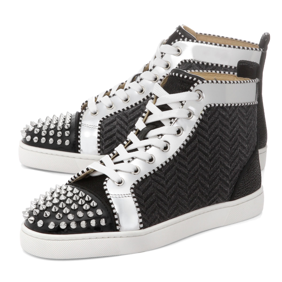 separation shoes 66b03 52268 1190400 クリスチャンルブタン Christian Louboutin shoes men BK65 sneakers higher  frequency elimination LOU SPIKES ORLATO FLAT ルースパイクスオルラートフラット BLACK/SILVER  black