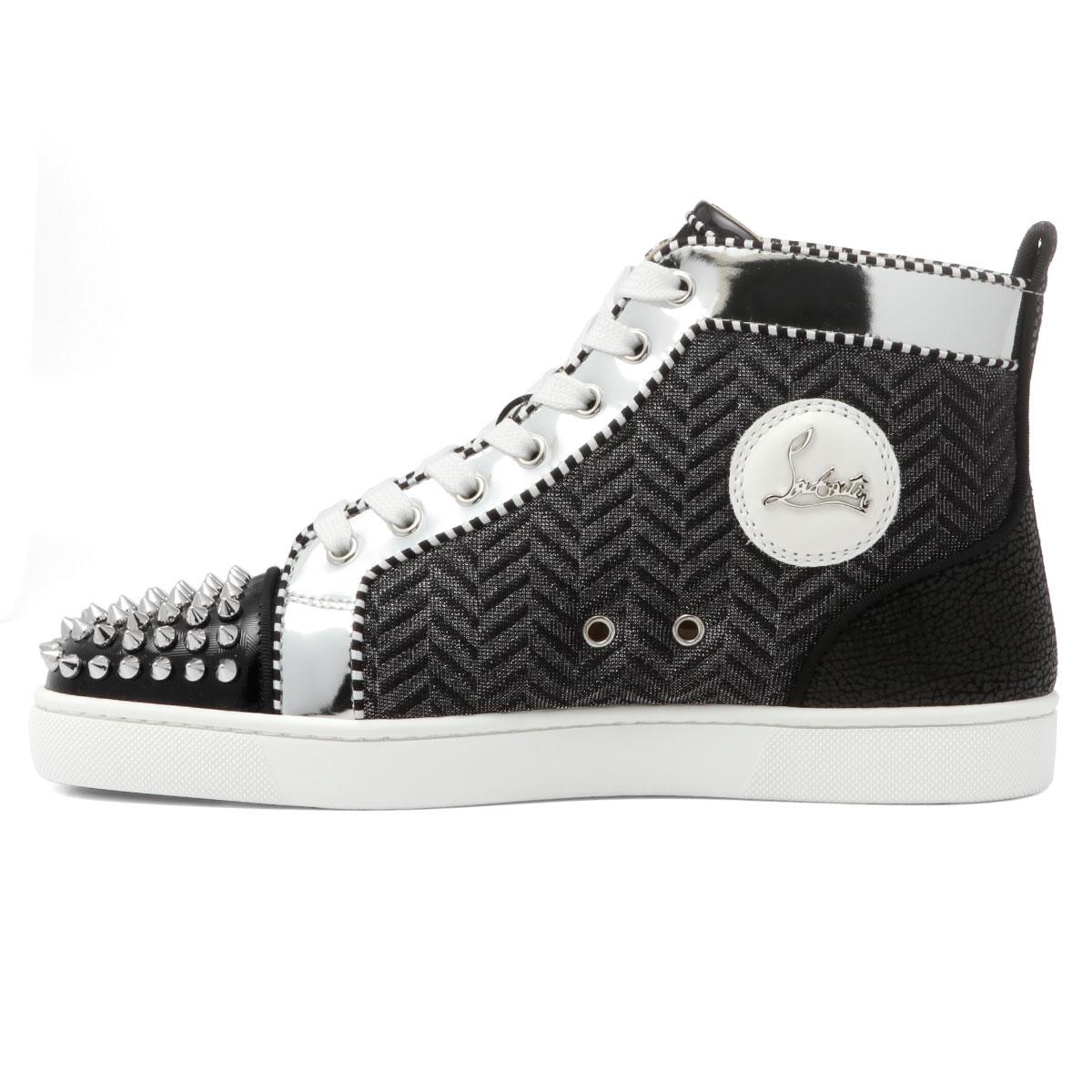 1190400 クリスチャンルブタン Christian Louboutin Shoes Men Bk65 Sneakers Higher Frequency Elimination Lou Spikes Orlato Flat ルースパイクスオルラートフラット Black Silver Black