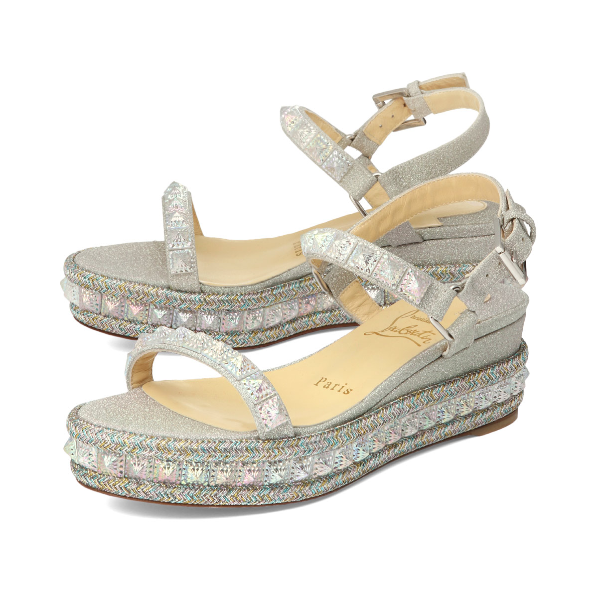 big sale ebef8 a556c Sandals PYRADIAMS ピラディアムズ VERSION AB silver with クリスチャンルブタン Christian  Louboutin shoes Lady's 1191420 W081 strap