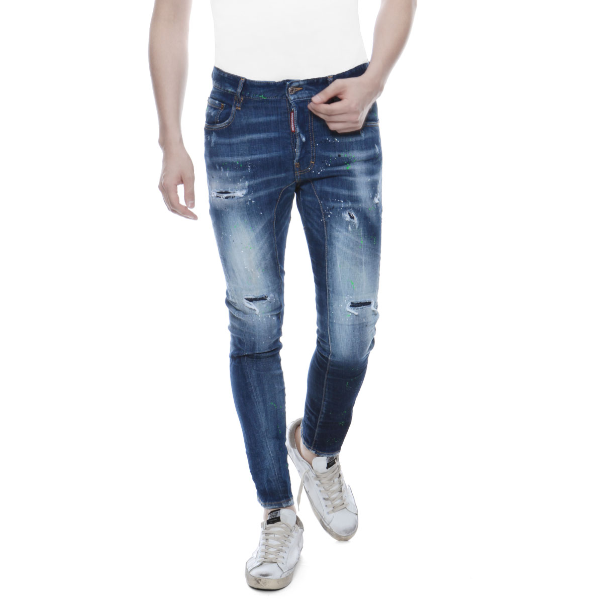 ディースクエアード DSQUARED 2 パンツ メンズ S74LB0516 S30342 470 クラッシュ&リメイク&ペイント加工 ジーンズ TIDY BIKER タイディ バイカー BLUE ブルー