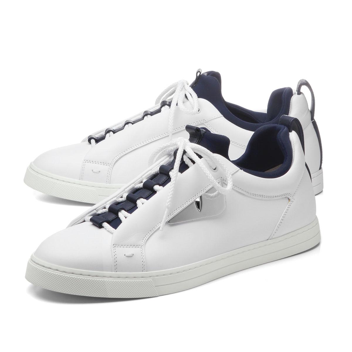 complete in specifications famous designer brand good texture Fendi FENDI shoes men 7E1021 A0U3 F1ORN sneakers WHITE+BLUEBERRY+BLU white