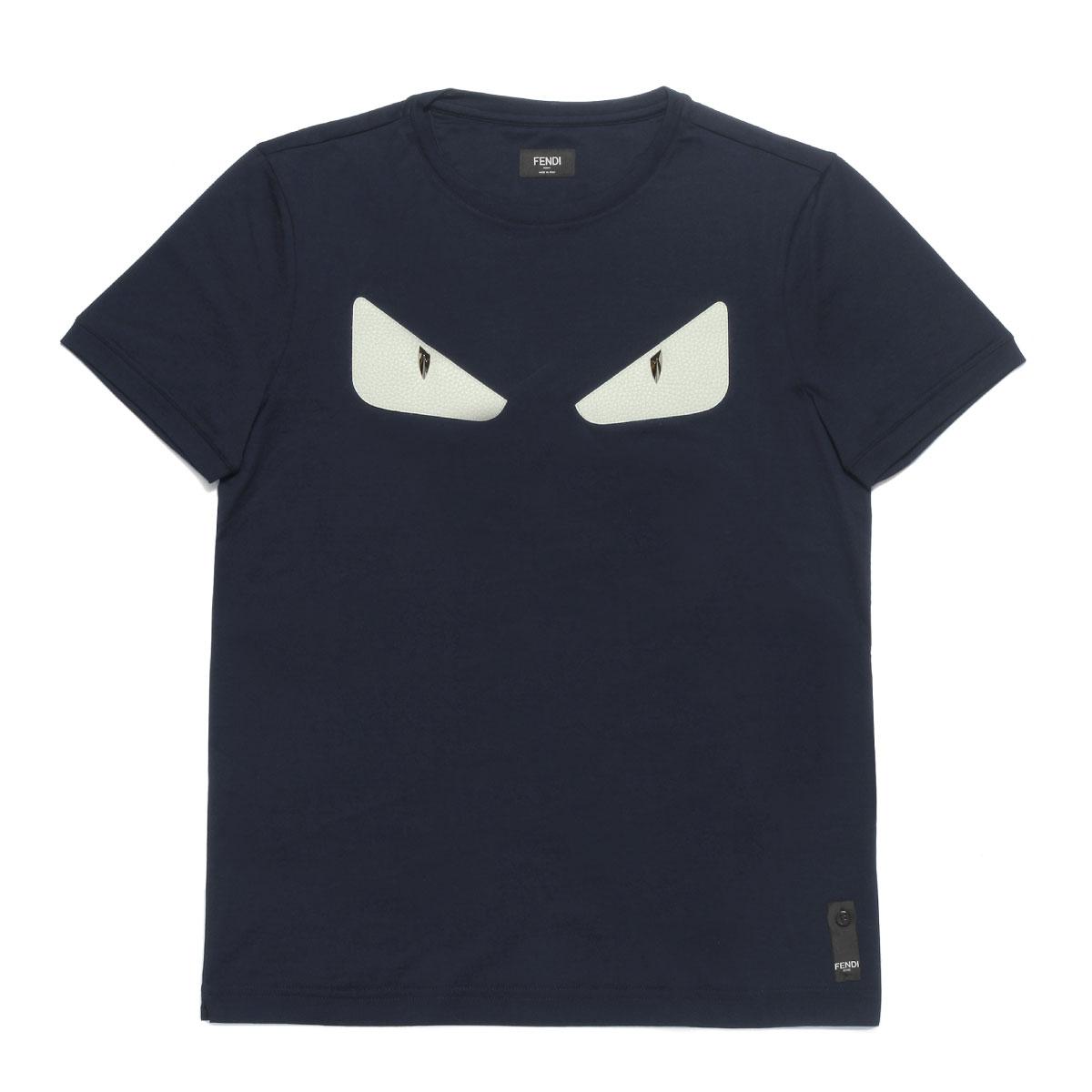 cheap for discount 201d0 ad652 フェンディ FENDI Tシャツ メンズ FY0722 94T F03LQ 半袖Tシャツ BLU NOTTE ダークブルー|インポートショップ  DOUBLE