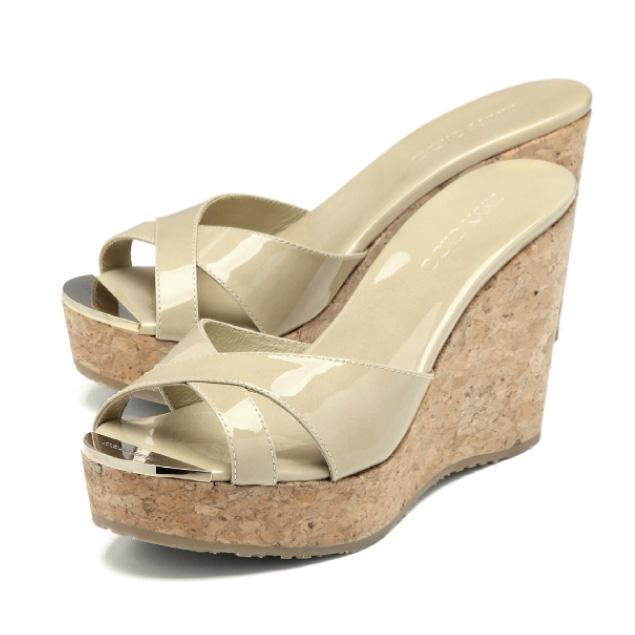 ジミーチュウ JIMMY CHOO shoes Lady's PANDORA PAT wedge sandals PANDORA Pandora  NUDE beige