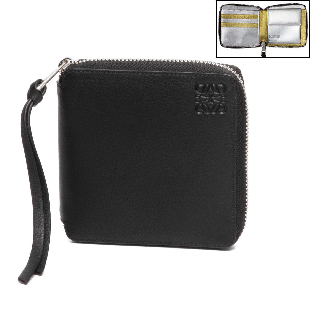ロエベ LOEWE 財布 レディース 124 30BM88 2011 8131 ラウンドファスナー二つ折り財布 GOLD/SILVER ブラック