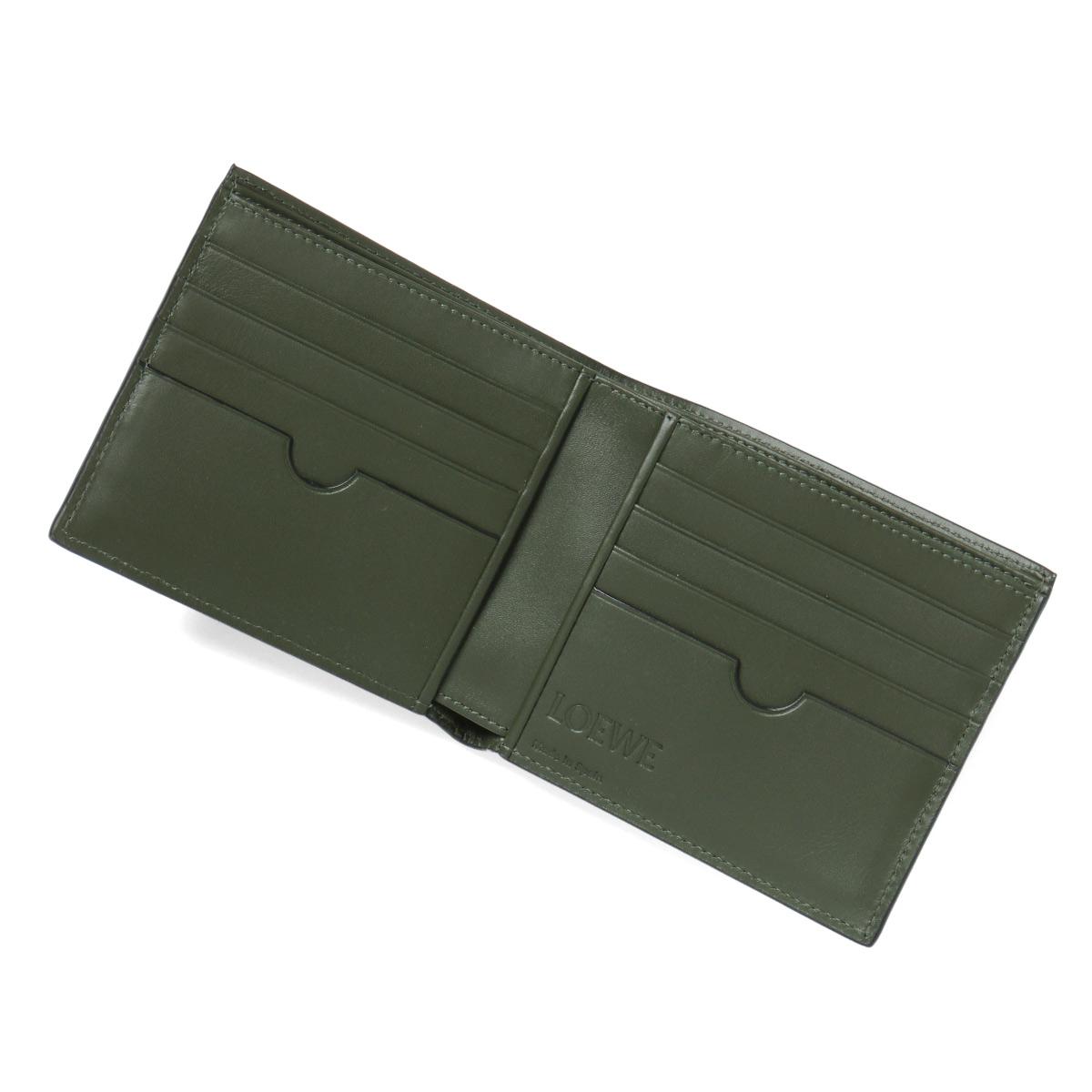5ba5fcb4 109 Loewe LOEWE wallet men 80 302 1100 1217 folio wallet BLACK/KHAKI GREEN  black