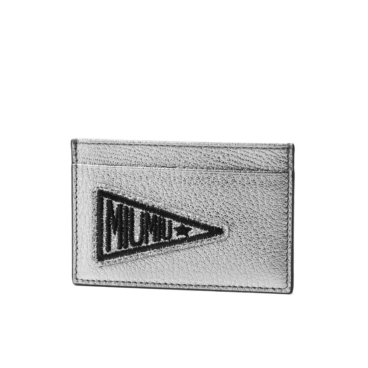 ミュウ ミュウ MIU MIU カードケース レディース 5MC208 2BS6 F0135 MADRAS GLITTER CROMO シルバー