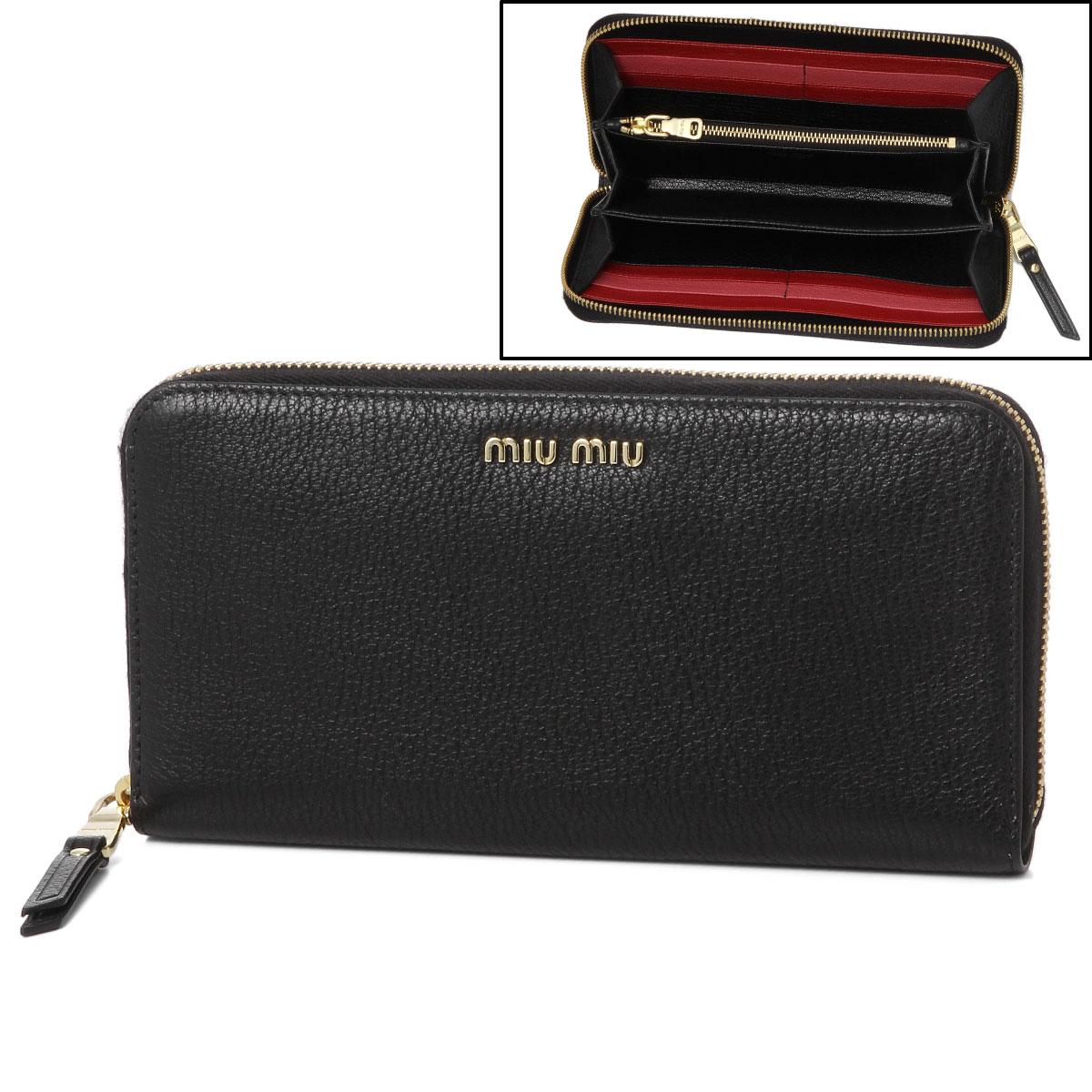 e74ed599c56 ミュウミュウ MIU MIU wallet Lady s 5ML506 2BJI F0LJ4 round fastener long wallet  MADRAS COLOUR B NERO FUOCO black