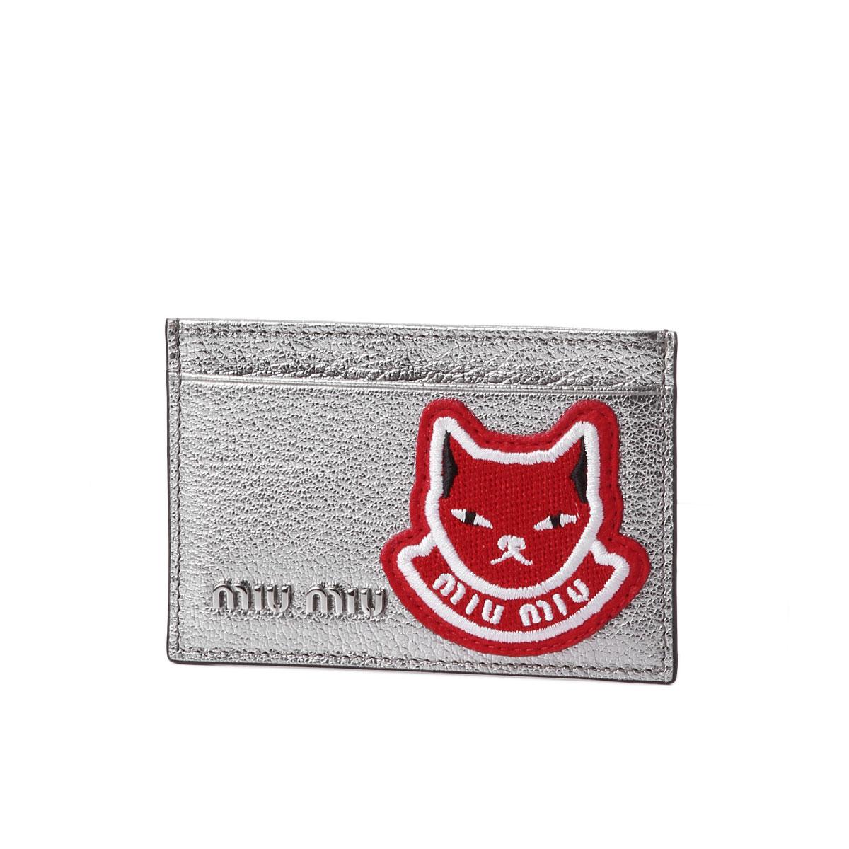 ミュウ ミュウ MIU MIU カードケース レディース 5MC208 2ELZ F0135 MADRAS POP CROMO シルバー