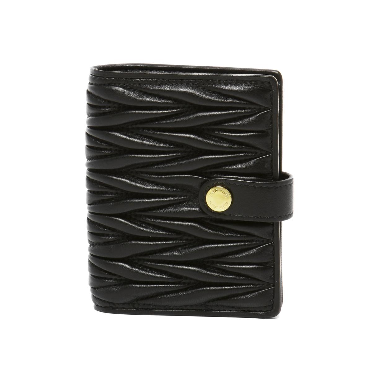 ミュウ ミュウ MIU MIU 財布 レディース 5MV016 N88 F0002 二つ折り財布 MATELASSE NERO ブラック