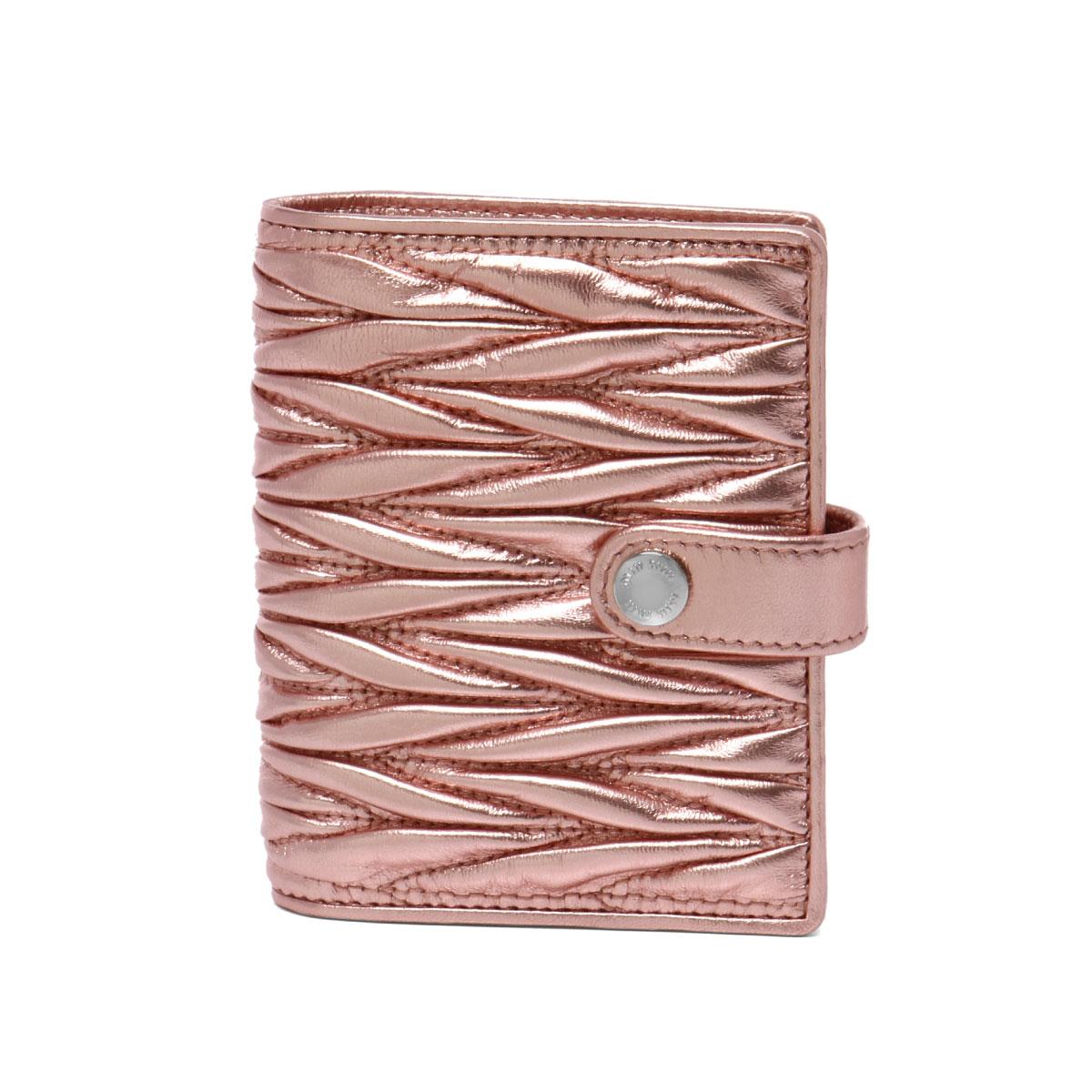 ミュウ ミュウ MIU MIU 財布 レディース 5MV016 N88 F0XDS 二つ折り財布 MATELASSE ROSA MORDORE ピンク