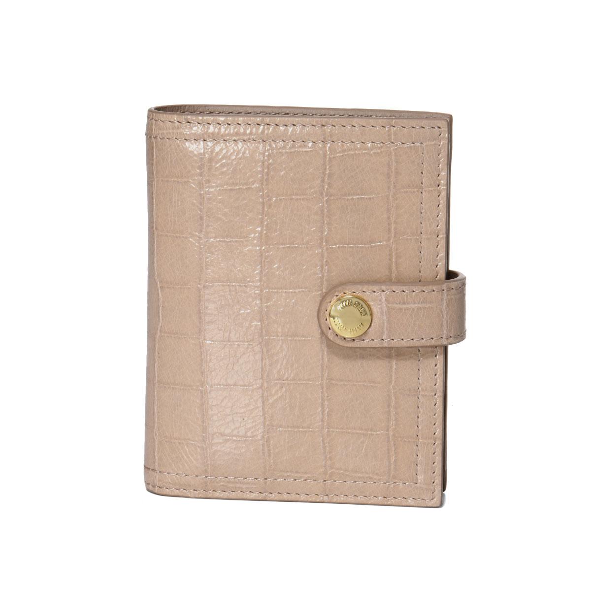 ミュウ ミュウ MIU MIU 財布 レディース 5MV016 NKG F0D91 二つ折り財布 ST.COCCO LUX OPALE ベージュ