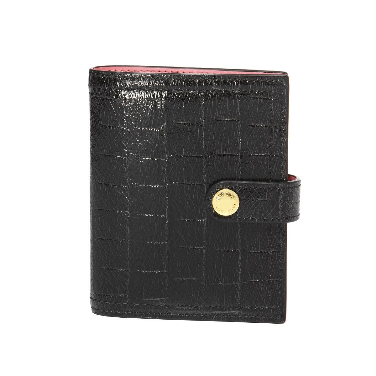ミュウ ミュウ MIU MIU 財布 レディース 5MV016 NKG F0WG3 二つ折り財布 ST.COCCO LUX NERO/PETALO ブラック