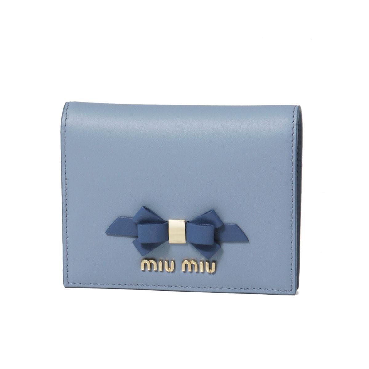 ミュウ ミュウ MIU MIU 財布 レディース 5MV204 2B61 F0RFK 二つ折り財布 CALF FIOCCO ASTRALE+COBALTO ブルー