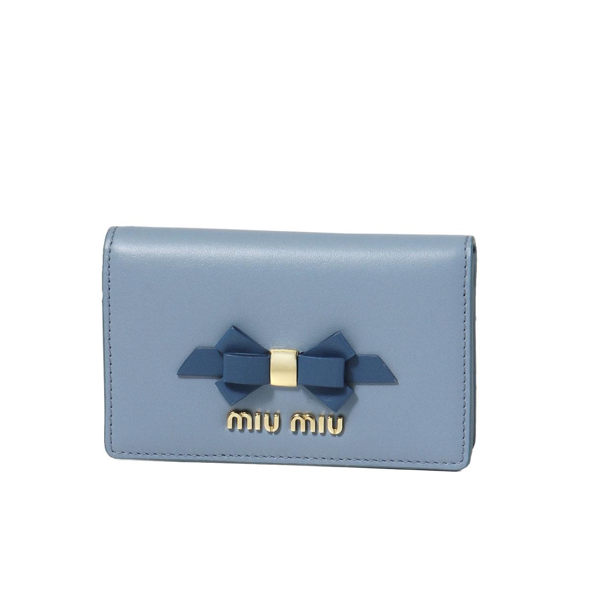 ミュウ ミュウ MIU MIU カードケース レディース 5MC011 2B61 F0RFK CALF FIOCCO ASTRALE+COBALTO ブルー