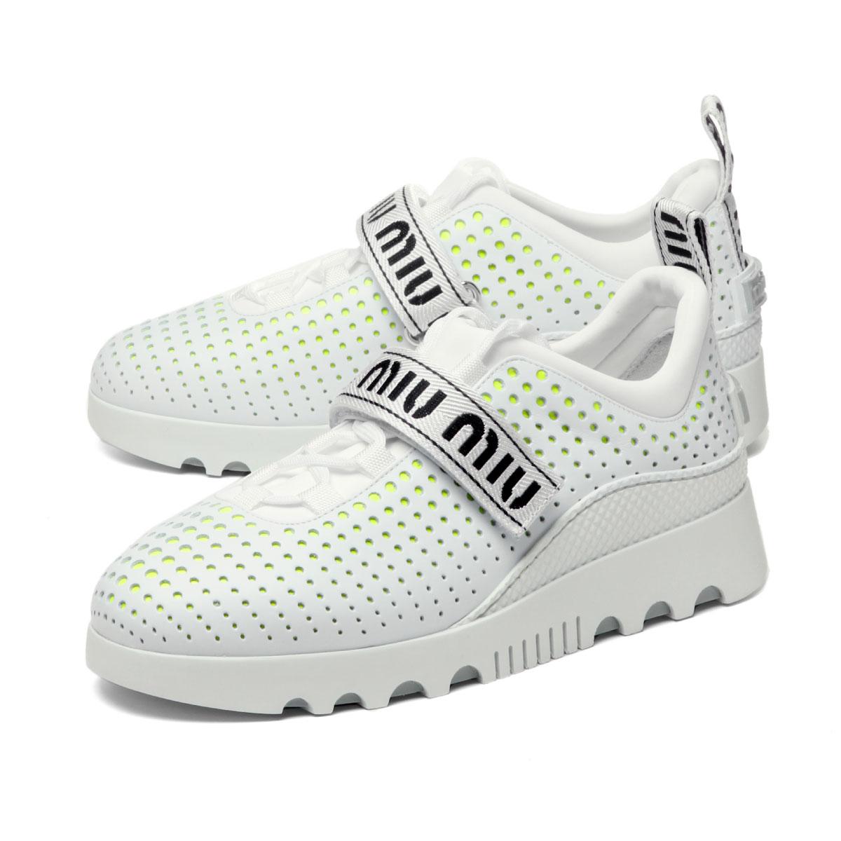 free shipping c7530 b4625 ミュウミュウ MIU MIU shoes Lady's 5E313C 3KRL F0I87 sneakers BIANCO+GIALLO F white
