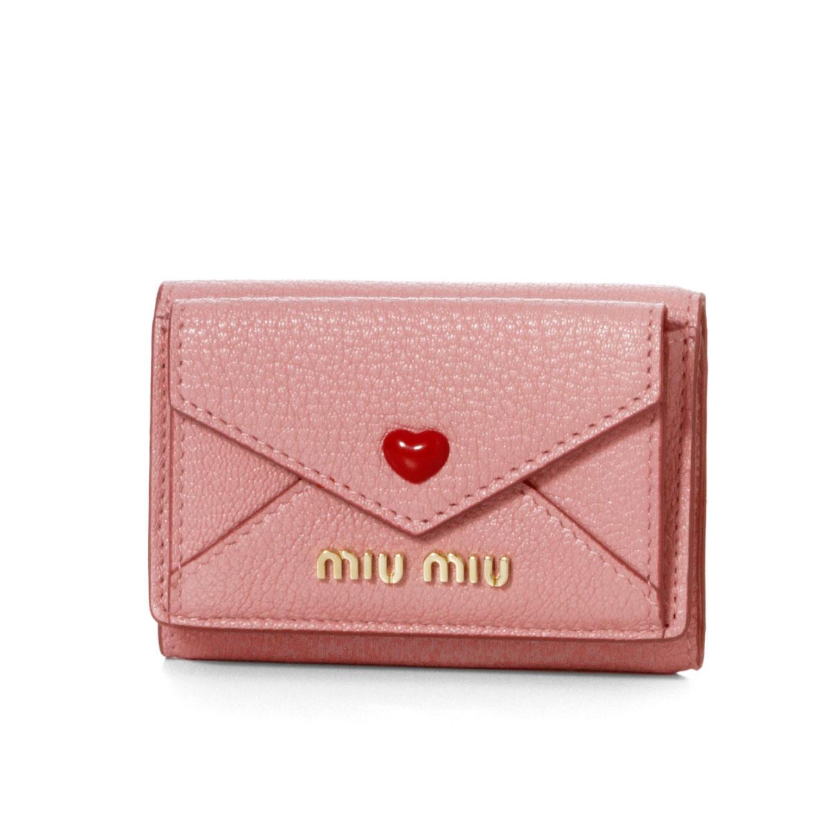 ミュウ ミュウ MIU MIU 財布 レディース 5MH021 2BC3 F0028 三つ折り財布 MADRAS LOVE RO