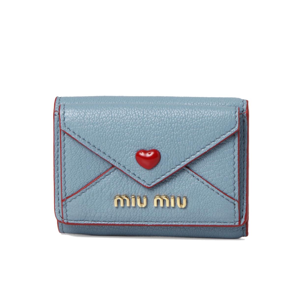 ミュウ ミュウ MIU MIU 財布 レディース 5MH021 2BC3 F0637 三つ折り財布 MADRAS LOVE ASTRALE ブルー