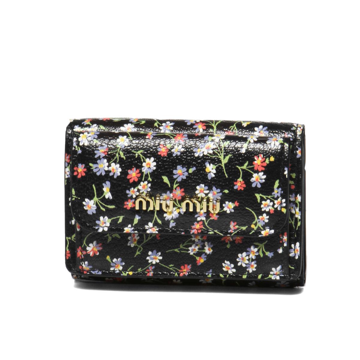 ミュウ ミュウ MIU MIU 財布 レディース 5MH021 2D52 F0002 三つ折り財布 MADRAS FLOWER NERO ブラック